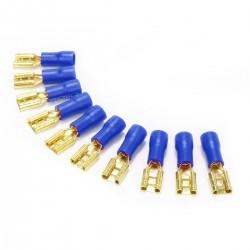 MUNDORF 6.3G Cosses Femelles 6.3mm Isolées Plaquées Or 1,5-2,5mm² Bleu (Set x10)