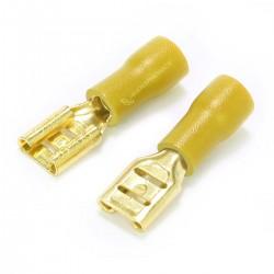MUNDORF 6.3G Cosse Femelle 6.3mm Isolée Plaquée Or 4-6mm² Jaune (Set x10)
