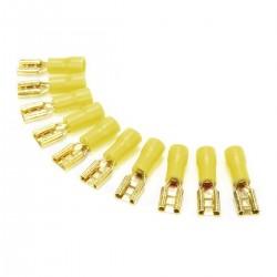 MUNDORF 6.3G Cosses Femelles 6.3mm Isolées Plaquées Or 4-6mm² Jaune (Set x10)