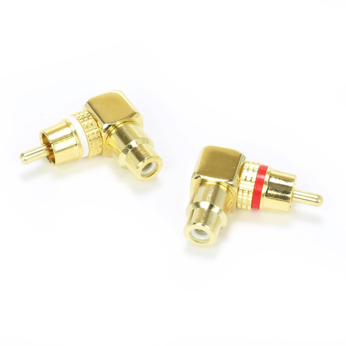 DYNAVOX Adaptateurs RCA Coudés 90° Plaqués Or (La paire)