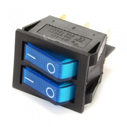 Dual NO Light Switch 250VAC 15A Blue