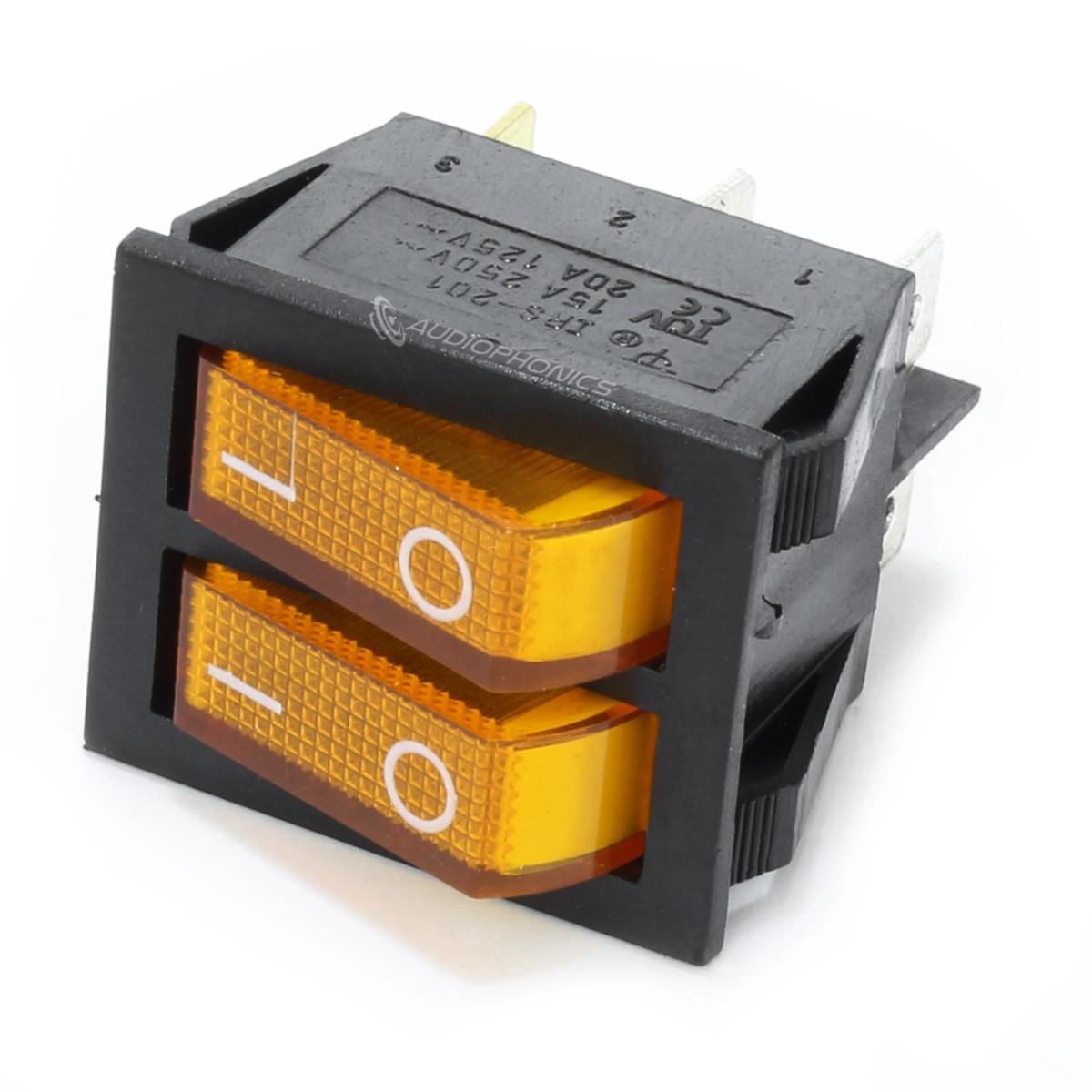 Dual NO Light Switch 250VAC 15A Yellow