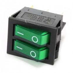 Interrupteur NO Lumineux Double 250VAC 15A Vert