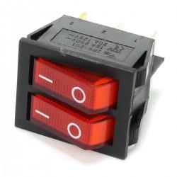 Interrupteur NO Lumineux Double 250VAC 15A Rouge
