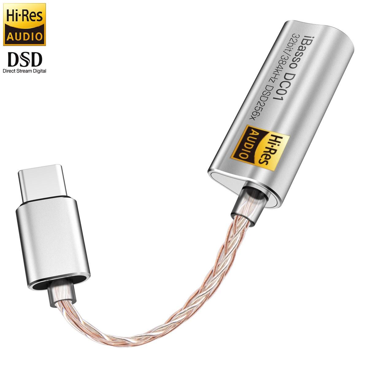 IBASSO DC01 Adaptateur Amplificateur casque DAC Symétrique USB-C Hi-Res AK4493 32bit 384kHz DSD256