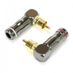 Connecteur RCA Coudé 90° Plaqué Or Ø6mm (La paire)