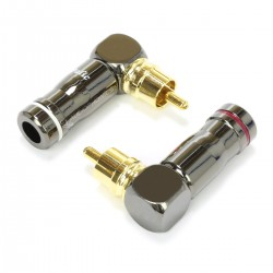 RCA Connector 90° Angled Gold Plated Copper Ø6.5mm (Pair)