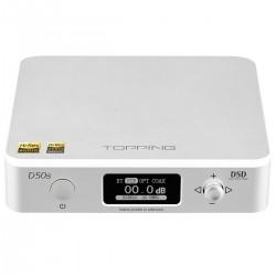 TOPPING D50S DAC 2x ES9038Q2M XMOS U208 Bluetooth 5.0 LDAC 32bit 768kHz DSD512 Argent