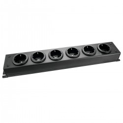 MultiPrise Schuko 6 Ports Professional Quality Black (To be wired)
