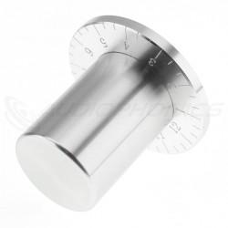 Bouton Aluminium Gradué Axe Méplat 38x33mm Ø6mm