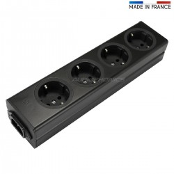 AUDIOPHONICS Distributeur Secteur 4 Prises Schuko Aluminium Noir