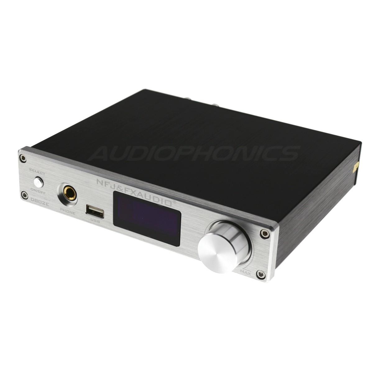 FX-AUDIO D802E Amplificateur FDA STA326 Lecteur réseau WiFi DLNA Bluetooth 5.0 Multiroom 2x40W / 8 Ohm Argent