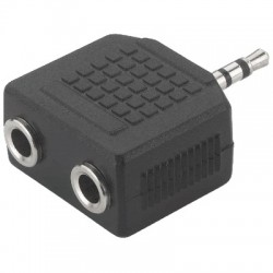 Adapter 1 x 2.5 stereo male jack to 2 x 3.5 stereo female jack
