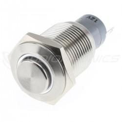 Interrupteur Inox avec Cercle Lumineux Blanc 1NO1NC 230V 3A Ø16mm Argent