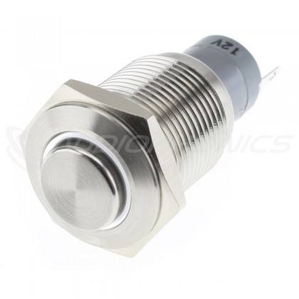 Stainless Steel Switch with White Light Circle 1NO1NC 230V 3A Ø16mm Silver
