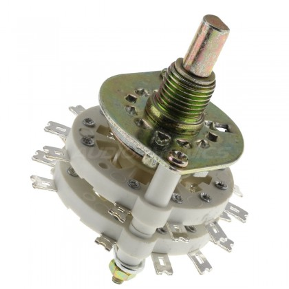 Selector 4 inputs 3 positions Ø6mm Axis flat