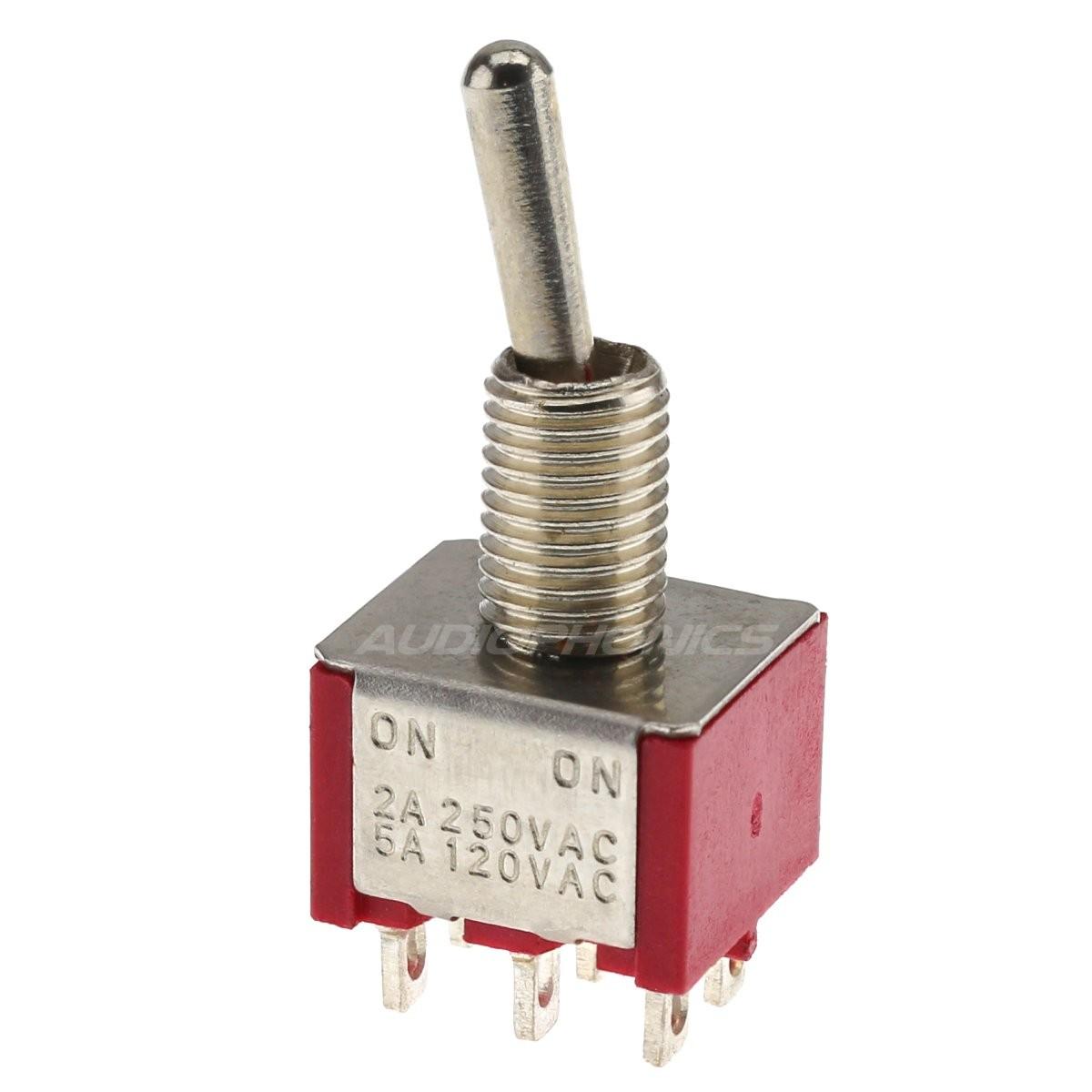 Interrupteur à Bascule 2 Pôles 2 Positions ON-ON DPDT 250V 2A / 120V 5A Rouge