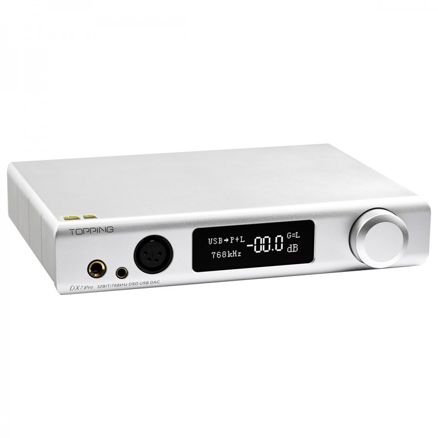 Topping Dx7 Pro Balanced Dac Headphone Amplifier Es9038pro Bluetooth 5 0 Aptx Hd Ldac 32bit 768khz Dsd1024 Silver Audiophonics