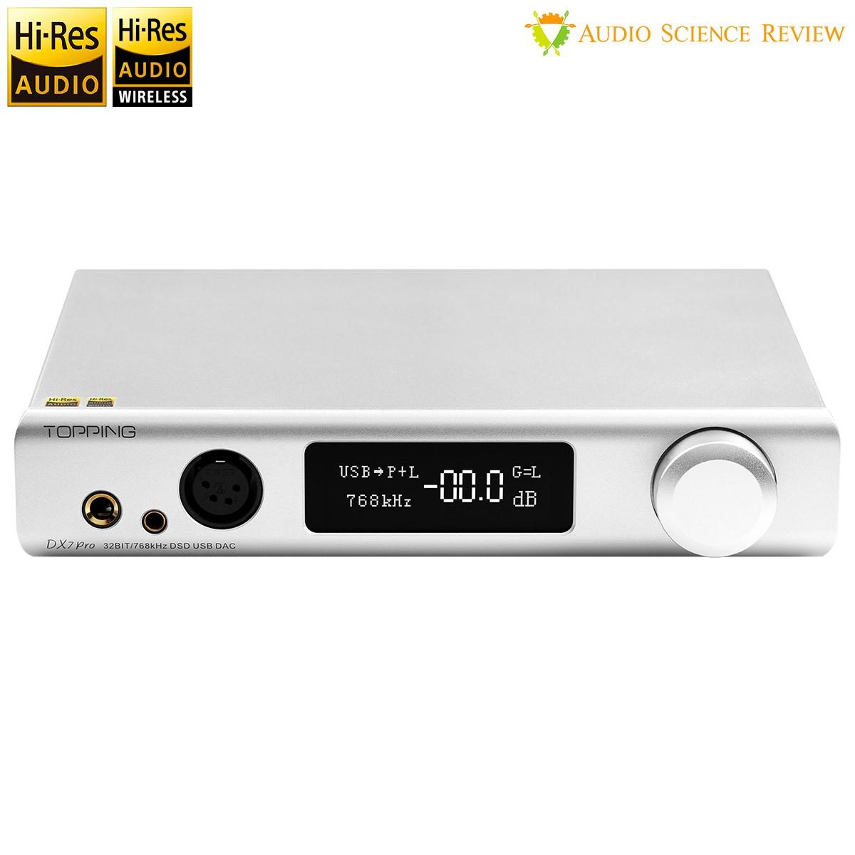 TOPPING DX7 PRO Balanced DAC Headphone Amplifier ES9038Pro Bluetooth 5.0 aptX HD LDAC 32bit 768kHz DSD1024 Silver