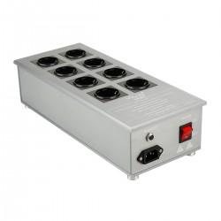 VIBORG VE80 Distributeur Secteur Filtré 8 Prises Schuko 3300W 15A Aluminium Gris