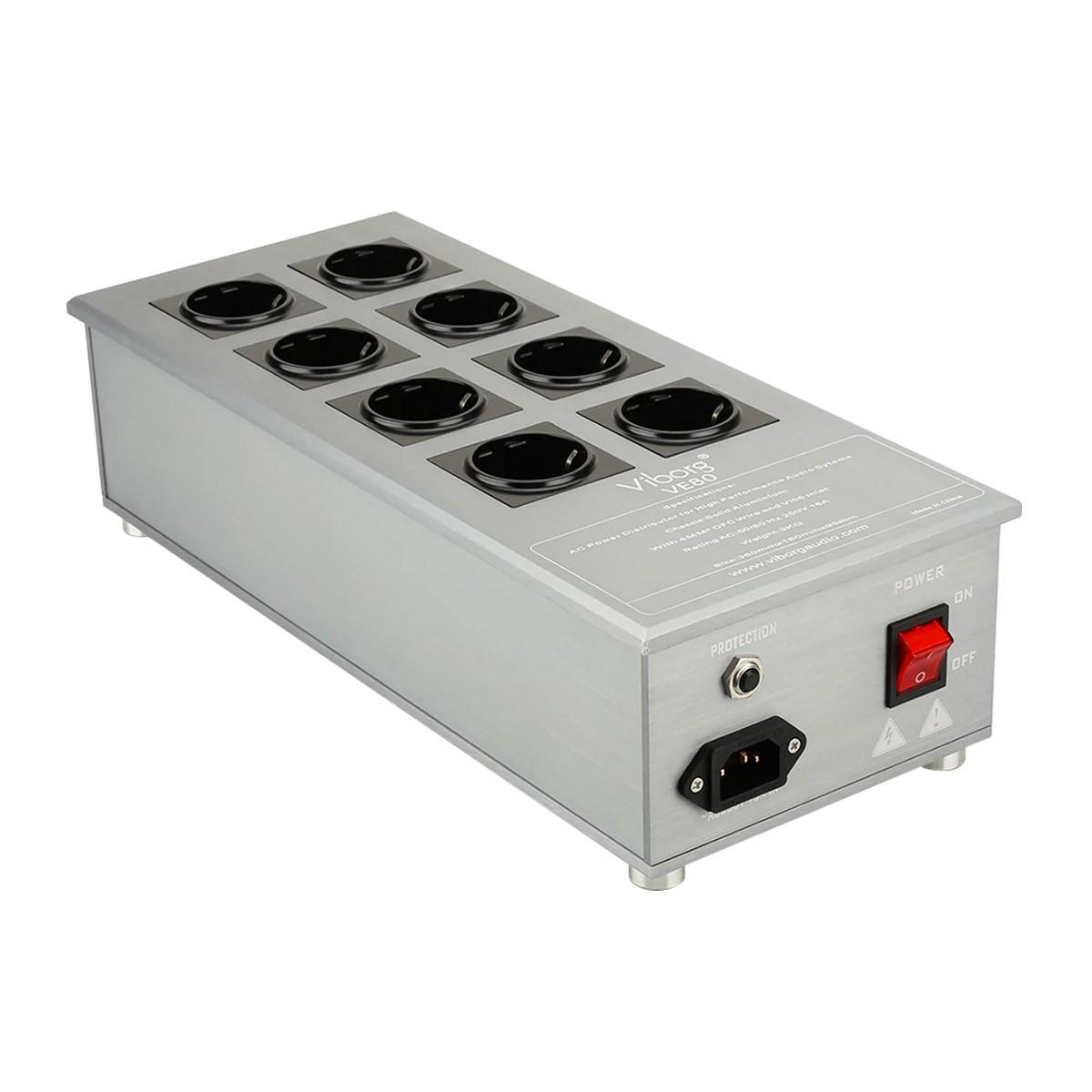 VIBORG VE80 Filtered Power Distributor 8 Schuko Sockets 3300W 15A Aluminium Gray