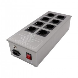 VIBORG VE80 Filtered Power Distributor 8 Schuko Sockets 3300W 15A Aluminium Gray