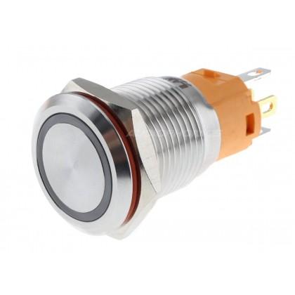 LB Interrupteur Aluminium Anodisé avec Cercle Lumineux Blanc 24V Ø16mm Argent