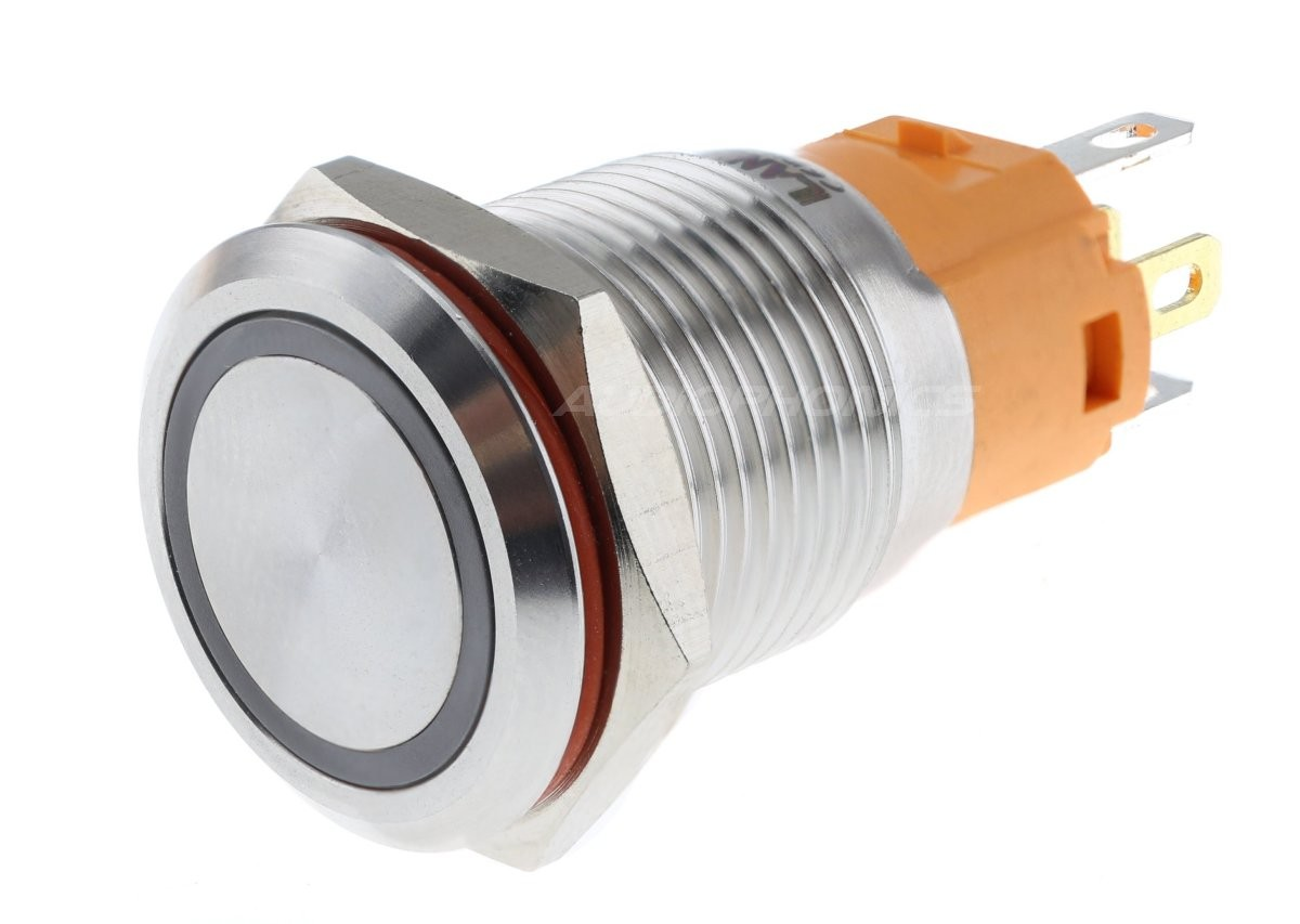LB Aluminium Monostable switch with white light 250V Ø16mm Silver