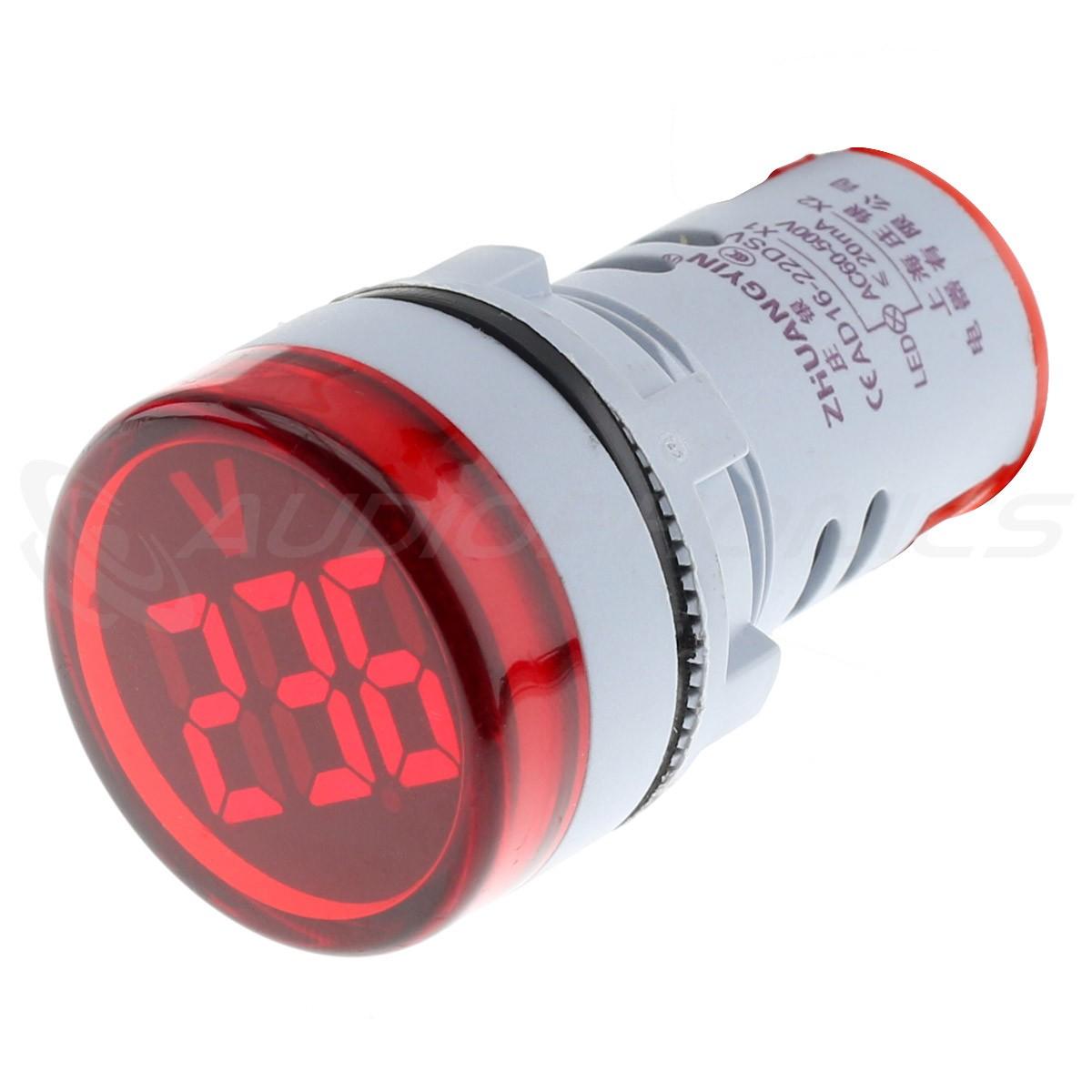 Afficheur de Tension Voltmètre à LED Rouge 60-500VAC Ø22mm