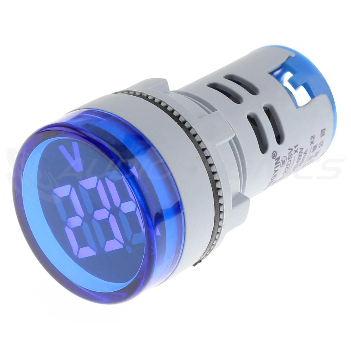 Afficheur de Tension Voltmètre à LED Bleu 60-500VAC Ø22mm