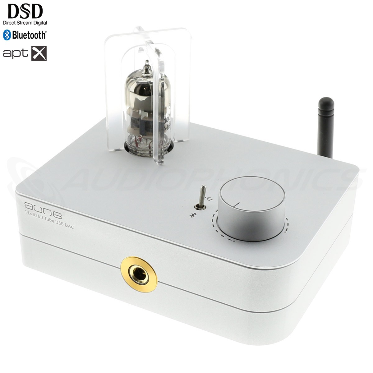AUNE T1S 4TH GEN Tube Headphone Amplifier DAC ES9038Q2M Bluetooth aptX HD 32bit 768kHz DSD512 Silver