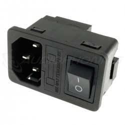 IEC C14 Plug with ON-OFF Toggle Switch and Fuse 250V 10A Black