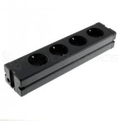 Multiprise DIY Aluminium 4 Ports Schuko Noir