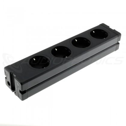 Multiprise DIY aluminium 4 ports Schuko