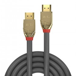 LINDY GOLD LINE High Speed HDMI 2.0 Cable OFC Copper Gold Plated Triple Shielding 24k 2m