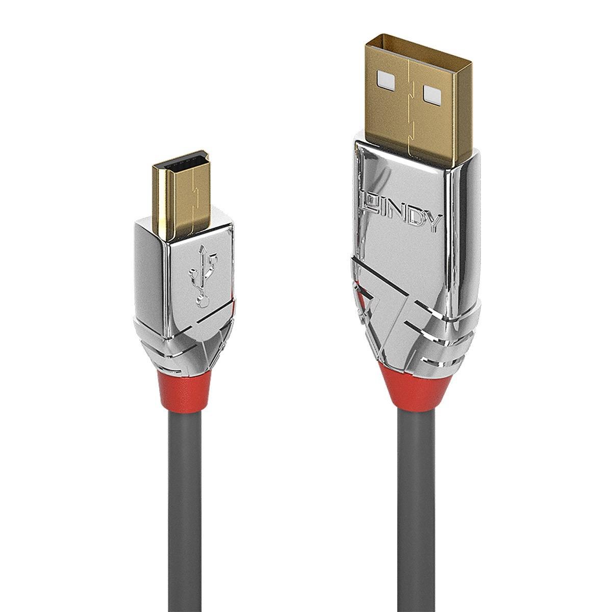 LINDY CROMO LINE Câble USB-A Mâle vers Mini USB-B Mâle 2.0 Plaqué Or 2m