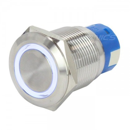Push Button Stainless Steel with Blue Light Circle 250V 5A Ø19mm Silver