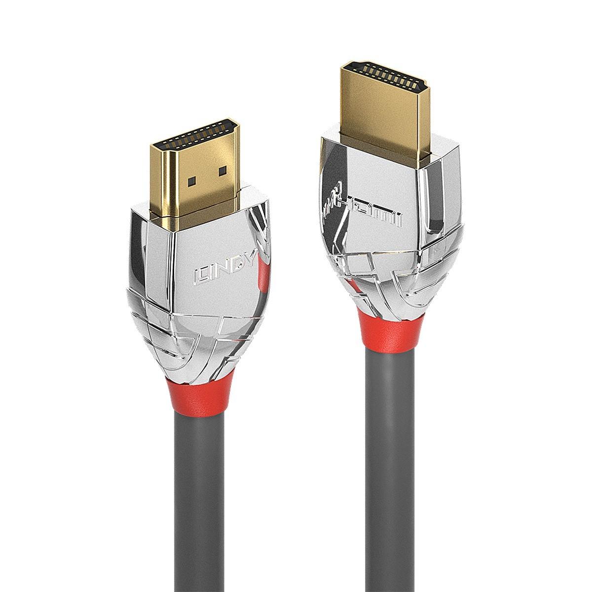 LINDY CROMO LINE Câble HDMI 2.0 High Speed Triple Blindage Plaqué Or 24k 1m