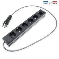 AUDIOPHONICS Power Distributor Schuko 6 Plugs Aluminum 1,2m Black