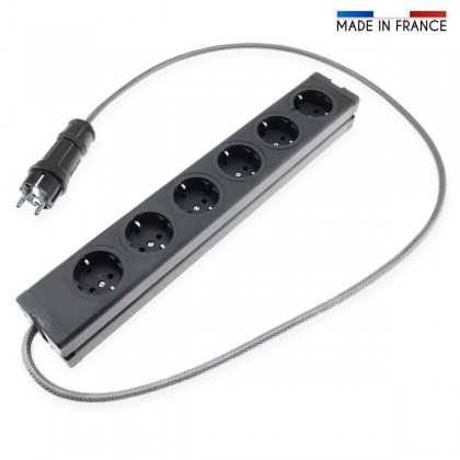 MultiPrise Schuko 6 Ports Aluminium Noir Cablée 1,20m