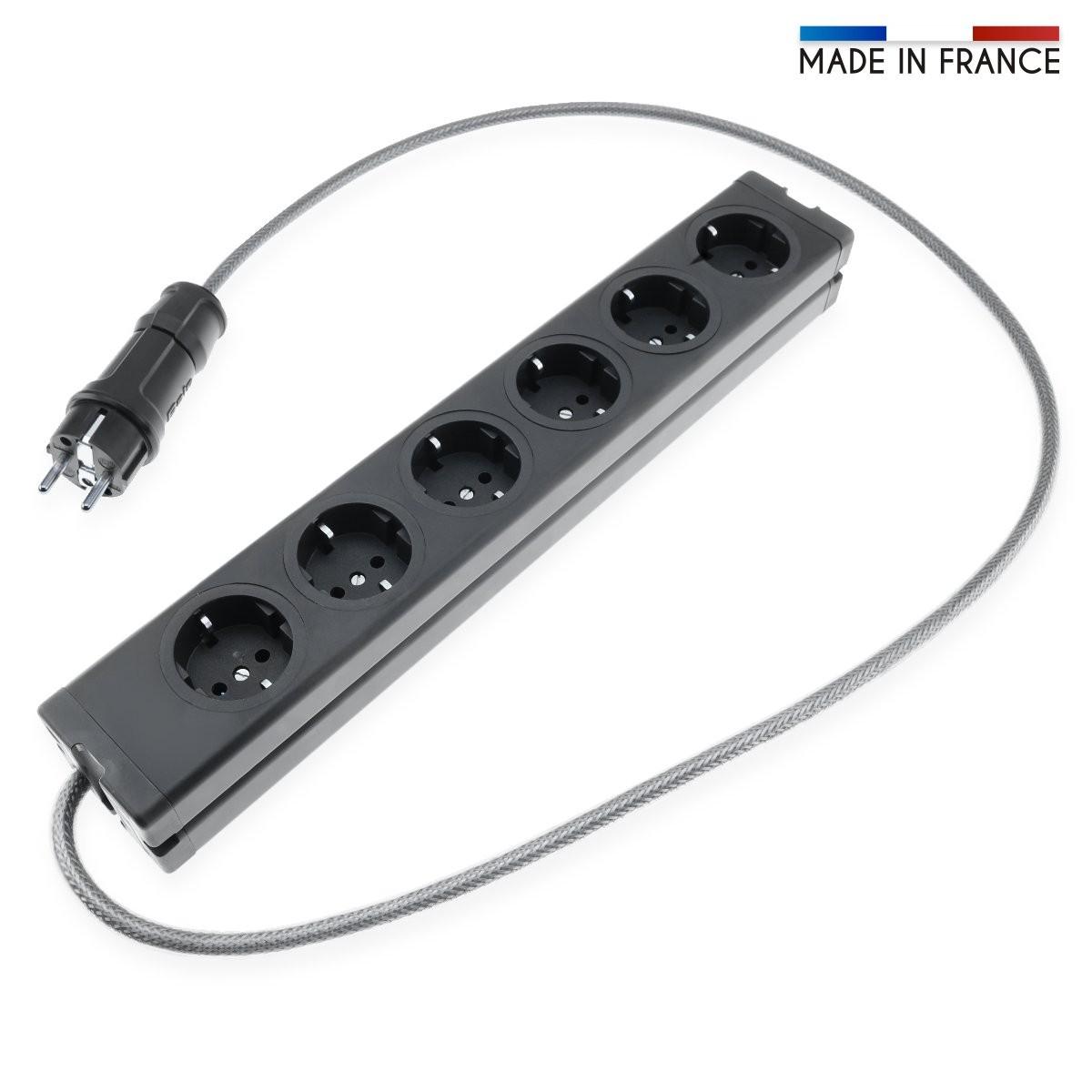 AUDIOPHONICS Power Distributor Schuko 6 Plugs Aluminum 1,2m Black