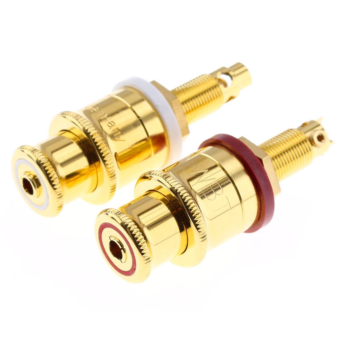 WBT-0702.01 Borniers pour Haut-Parleurs Cuivre Plaqué Or 24k (Set x4)