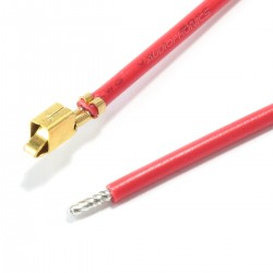VH 3.96mm Cable Female to Bare wire 1 Pole No Casing Gold-Plated 40cm Red (x10)