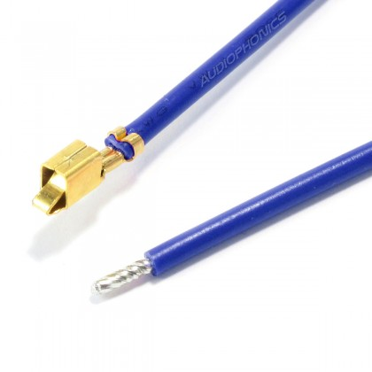 VH 3.96mm Cable Female to Bare wire 1 Pole No Casing Gold-Plated 40cm Blue (x10)