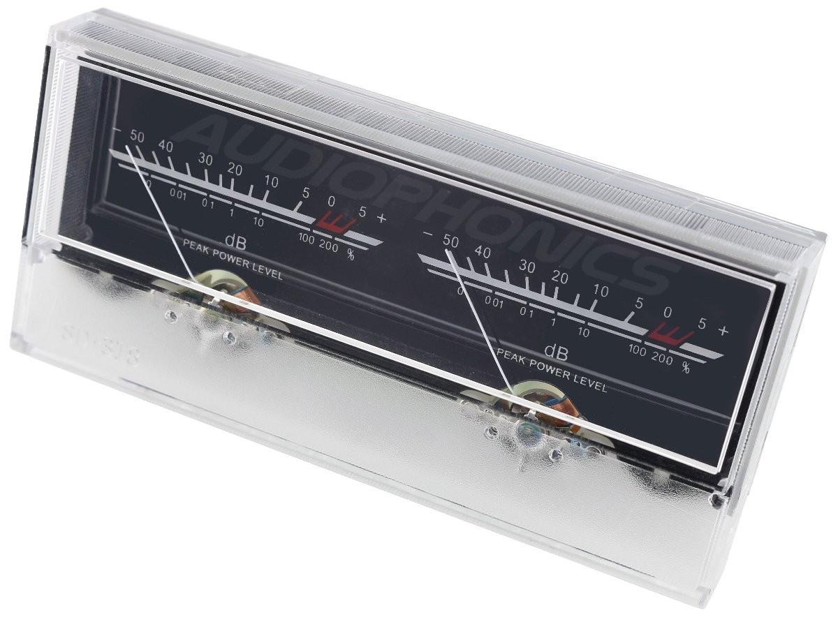 TEK Vumétre rétroéclairage blanc dB avec module de contrôle 115 mm