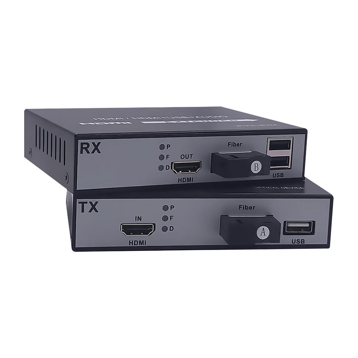 HDMI 1080p / USB Transmitter Receiver Extension via Optical Fiber (Pair)