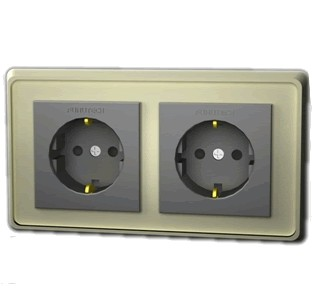 FURUTECH FP-SWS-D (R) Rhodium plated dual Schuko Wall plate