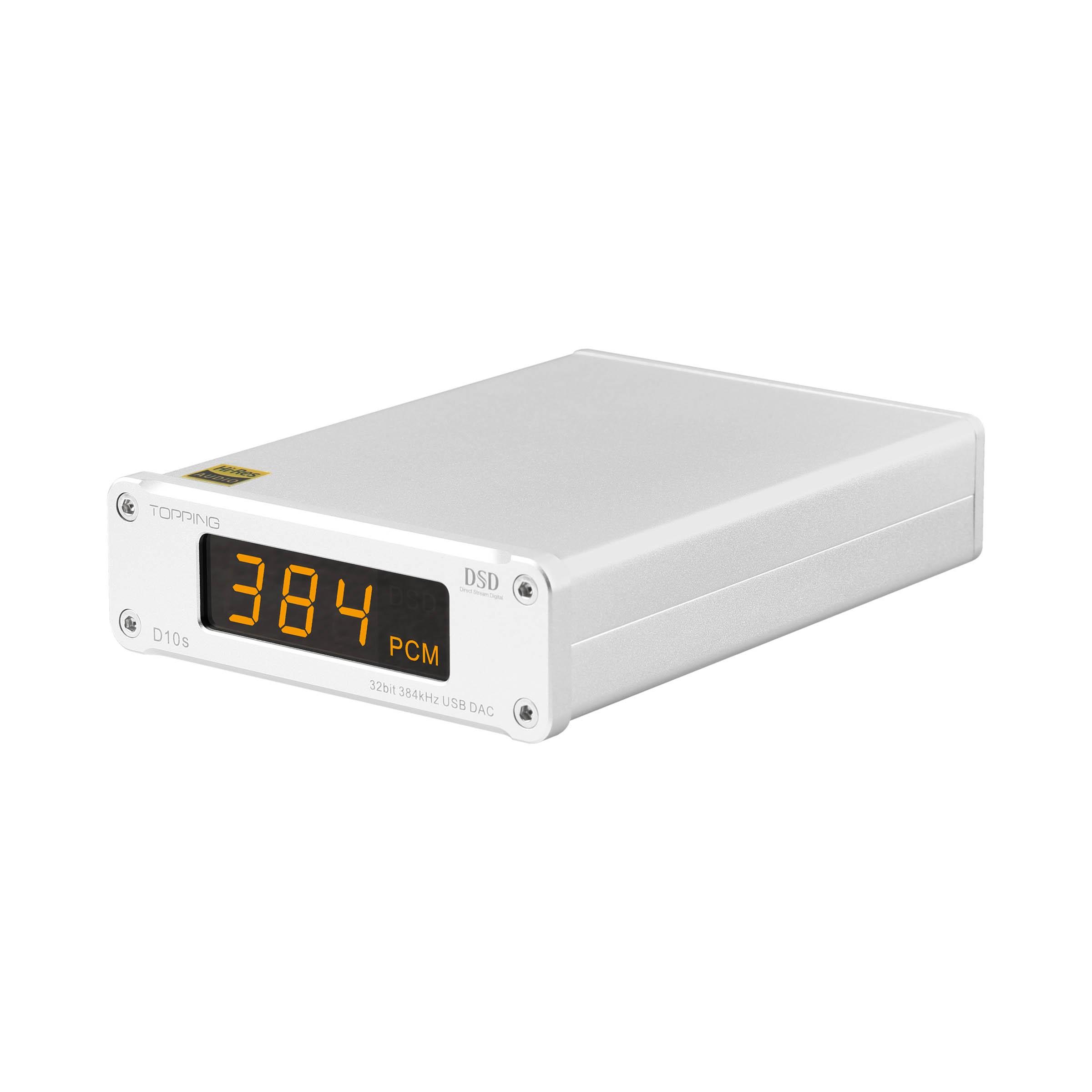 TOPPING D10S DAC USB 32bit/384kHz DSD 256 XMOS U208 ES9038Q2M Argent