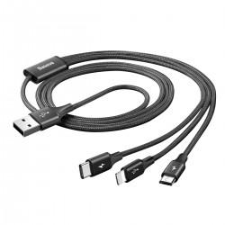 Câble USB-A vers Lightning / USB-C / Micro USB 1.2m Noir