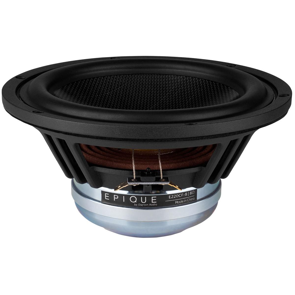 DAYTON AUDIO EPIQUE E220CF-8 Speaker Driver Woofer Carbon Fiber 150W 8 Ohm 91dB 25Hz - 4500Hz Ø20.3cm